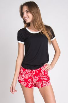 Bandana Red and White Shorts - These would be great for lounging around your house or a beach bottom cover up!