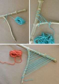 Make a beautiful weaving from an ordinary branch ~ the technique intrigues me with potential use of more natural colored fibers ...
