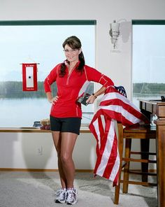 Sarah Palin's shoes run and groovy poser leans on USA Flag in typical Sarah Palin style. Photo of Sarah Palin and a flag in Runner's World hmmmm is this a violation? Sexy Older Women, Sexy Women, Women Wear, Sarah Palin Photos, American Athletes, Female Stars, Womens Glasses, Famous Women, Famous People