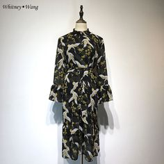Aliexpress.com : Buy WHITNEY WANG 2018 Spring Summer Fashion Streetwear Crane Printed Dress Women Casual Dress Vestidos Plus Size  from Reliable vestidos f suppliers on STYLISH Store