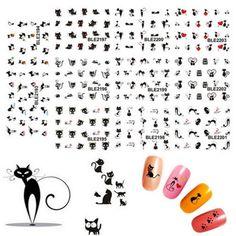 NEW 11pcs/set Design in 1 Black Cat Design Water Transfer 3D Nail Art Stickers Decals JU18.