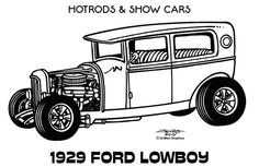 Line Illustrations - Hot Rods & Show Cars by James Jones, via Behance Coloring Book Art, Coloring Pages, Coloring Sheets, Colouring, Car Drawings, Cartoon Drawings, Print Pictures, Colorful Pictures, Line Illustration