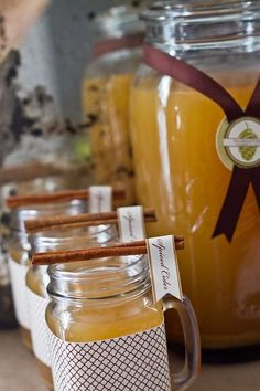 Spiced cider at a rustic Thanksgiving party! See more party planning ideas at CatchMyParty.com!