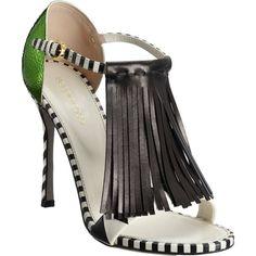 Sergio Rossi Fringed Hammered Heel Sandal ($1,095) ❤ liked on Polyvore