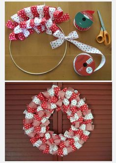 Super easy DIY wreath.    1. Make a circle out of a wire hanger.  2. Tie Ribbon in bows all the way around (use as many different colors/patterns as you want).  3. Hang up or give away!    Pinned at http://pinterest.com/pin/253820128970740050/