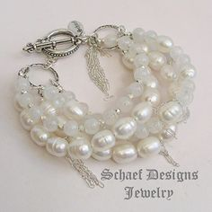 Schaef Designs White Freshwater Pearl Moonstone Sterling Silver Chain 5 Strand Stacking Gemstone Bracelets | New Mexico