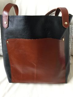 Fully Lined with Red Fabric Black Leather Tote Bag Matte Finish Black Leather Bag