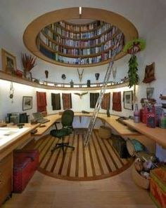 Will always love this! :D Domed Ceiling Bookshelves  The Wade Davis Writing Studio Boasts a Sky-High Library