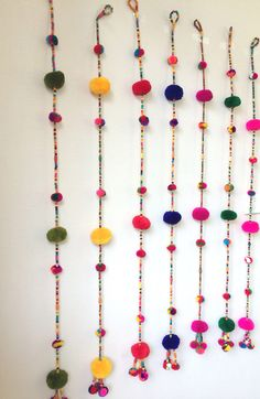 16 Ideas for wall decored diy party etsy Hanging Pom Poms, Pom Pom Garland, Diwali Diy, Diwali Craft, Diy Diwali Decorations, Festival Decorations, Diy Arts And Crafts, Diy Crafts, Pom Pom Crafts