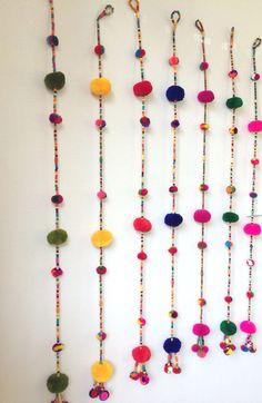 16 Ideas for wall decored diy party etsy Hanging Pom Poms, Pom Pom Garland, Diwali Diy, Diwali Craft, Diy Diwali Decorations, Festival Decorations, Pom Pom Crafts, Yarn Ball, Diy Arts And Crafts