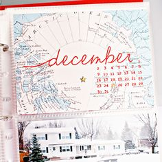 December Daily Inspiration - Using a Map. Use a calendar over the top. Project Life layout by cristina