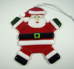 Fused Glass Christmas Ornament - Roly Poly Santa Claus