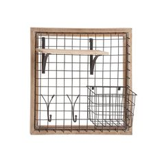 Smart Home 97247 Home,Natural Wood and Metal Wall Storage Rack Storage & Organization Smart Home Office Storage Home Wire Storage Racks, Iron Storage, Wall Racks, Wall Storage, Office Storage, Garage Storage, Metal Walls, Wood And Metal, Raw Wood