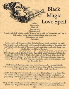 Black Magic Love Spell - Book of Shadows Page - Rare Wiccan Spell - Handmade
