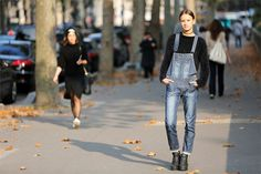 The revamp from the past- a fashion sensation future.   Streetstyle: overalls - Vogue.it