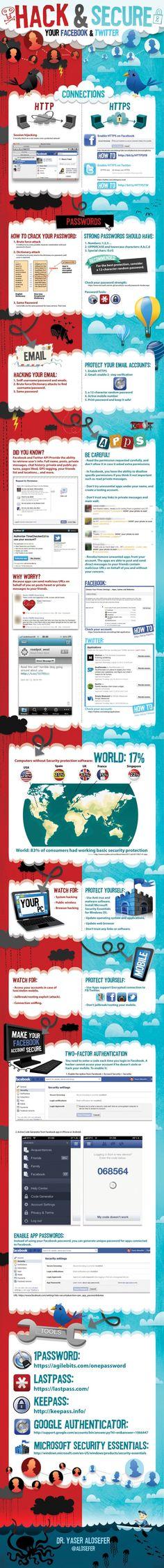 Hack & Secure your @Twitter & @Facebook. #infografia #infographic #SocialMedia