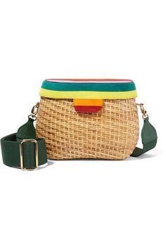 Edie Parker | Jane suede-paneled wicker shoulder bag | NET-A-PORTER.COM