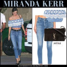 Miranda Kerr in blue lace off shoulder crop top and skinny jeans