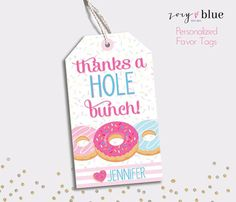 Donut Favor Tags - Doughnut Birthday Thank You Tags - Colorful Sprinkles Party Favors - Printable Teacher favor -Personalized Digital File Donut Birthday Parties, Donut Party, Birthday Party Themes, Birthday Ideas, Pj Party, Graduation Parties, Party Time, Birthday Thank You, 2nd Birthday