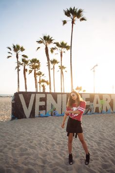 Topshop shirt and Friend of Mine leather pinafore in Venice Beach