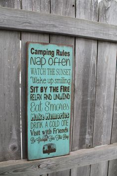 Primitive Rustic Vintage Style laser engraved custom personalized camping, cabin, cottage, lake, river Rules Typography Word Art Sign on Etsy, $48.00