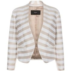 Paul Smith Women's Neutral Stripe Collarless Cotton Jacket (5 680 ZAR) ❤ liked on Polyvore featuring outerwear, jackets, blazers, coats & jackets, coats, paul smith, cotton jacket, stripe jacket, collarless jacket and paul smith blazer