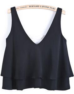 Black V Neck Cascading Ruffle Vest - Sheinside.com