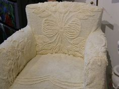 chenille-covered chair