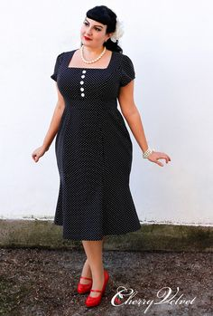 Natalie Dress - Black Pinhead Dot
