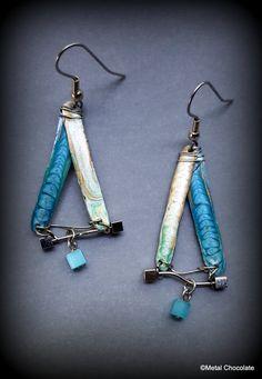 Blue Dangles Triangles Handmade Movement Earrings- original design OOAK by MetalChocolate on Etsy
