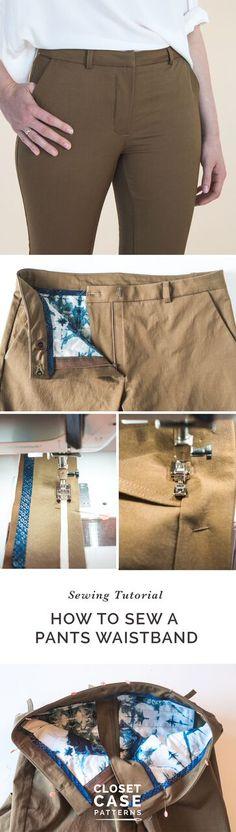 How to sew a beautiful, professional looking waistband // Closet Case Patterns https://closetcasepatterns.com/sewing-pants-waistband-sasha-trousers/
