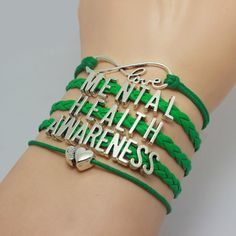 Mental Health Awareness Lettered, Green Braided Leather Bracelet. You will get the same bracelet as the pictures, and the charms are antique silver, this is a very good choice to give as a gift to you