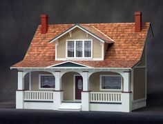 Charming Bungalow Style Dollhouse Kit, Scale One Inch