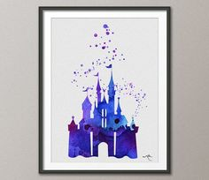Castle Blue Cinderella Disney Princess Watercolor Print Archival Fine Art Print Princess Room Nursery Art Wedding Gift No150 on Etsy, $15.00