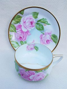 Gorgeous Rosenthal Bavaria 1900's Hand Painted Pink Roses Floral Mustache Cup Saucer by Artist, Aigle Fresh from a Chicago Area Estate is this vintage ......and simply gorgeous.......early 1900's