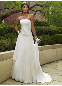 LACE BRIDESMAID PARTY BALL EVENING GOWN IVORY WHITE PROM CHIFFON SHEATH STRAPLESS WEDDING DRESS