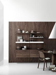 Dark woods and light metals might be the perfect match🤎🤍 Scandinavian Shelves, Scandinavian Furniture, Scandinavian Design, Built In Shelves, Metal Shelves, String System, Modular Shelving, Dark Wood, Improve Yourself