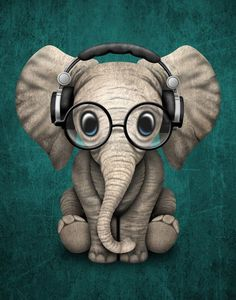 Cute Baby Elephant Dj Wearing Headphones and Glasses on Blue. This adorable baby elephant illustration, is available on many products. Baby Animals, Funny Animals, Cute Animals, Image Elephant, Cute Baby Elephant, Funny Elephant, Baby Elephant Drawing, Baby Animal Drawings, Cartoon Elephant