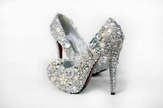 Cinderellas Wish crystal glass and pearl by everlastinglifashion, $780.00