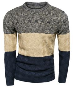 Multicolor Round Neck Long Sleeve Sweater