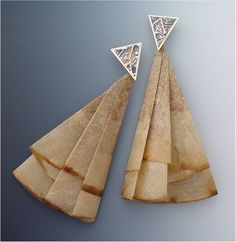 """Earrings:  """"Starbucks""""  (Sterling, 14k Gold, Used Coffee Filters - designed and created by Karen J Lauseng)."""