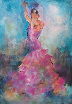Pink Flamenco - Flamenco Dancer - Ballet & Dance Gallery of Art - Paintings by Surrey Artist Sera Knight - Horsell, Woking Surrey England