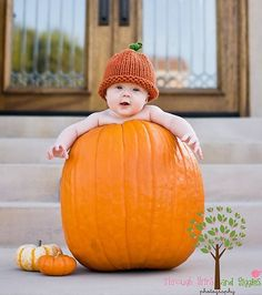 Baby Pumpkin Attack!!   Bring her pumpkin hat for this pic!