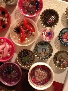 How to Make Bottle Cap Magnets!  need more magnets anyway- like the barbie shoe and beads idea!