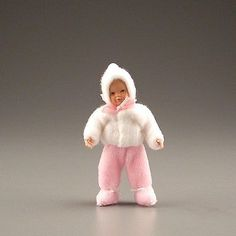 """Dollhouse TODDLER GIRL DOLL - Pink - 1:12 scale Miniature Baby - 2-3/4"""" Caco"""