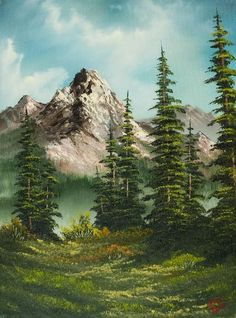 Image result for bob ross trees with mountains