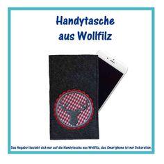 Handytasche Hirsch rot - Wollfilz dunkelgrau