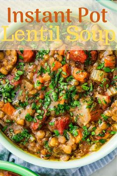 Best Instant Pot Lentil Soup Recipe with green or brown lentils, canned tomatoes and spinach. Only 5 mins of prep and no sauteing. Best Appetizers Ever, Delicious Appetizers, Delicious Recipes, Appetizer Recipes, Dinner Recipes, Yummy Food, Simple Recipes, Easy Healthy Recipes, Quick Easy Meals