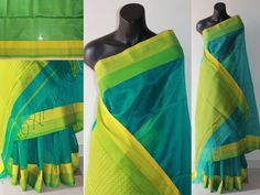 A beautiful blue coloured maheshwari silk saree with double coloured border and green blouse