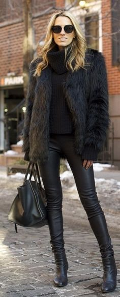 All black. faux fur coat, leather skinnies, oversized bag.